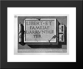 The Roman Antiquities, T. 2, Plate Vii. Plan, Cracked And Facade Of A Tomb Outside Porta S. Sebastian On The Via Appia In The Hamlet Of S. Maria Nuova: Modern Black Framed Art Print by Giovanni Battista Piranesi