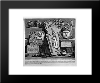 The Roman Antiquities, T. 2, Plate Xiv. Inscriptions And Fragments Of The Burial Chambers Of The Family Arrunzia (Figures Carved From Barbault): Modern Black Framed Art Print by Giovanni Battista Piranesi