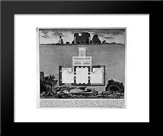 The Roman Antiquities, T. 2, Plate Xl. View Of A Tomb Oldest Existing Bridge In A Vineyard Near Lugano: Modern Black Framed Art Print by Giovanni Battista Piranesi