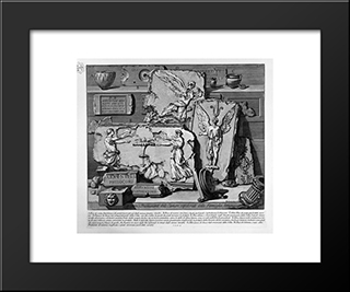 The Roman Antiquities, T. 2, Plate Xv. Inscriptions And Fragments Of The Burial Chambers Of The Family Arrunzia (Figures Carved From Barbault): Modern Black Framed Art Print by Giovanni Battista Piranesi