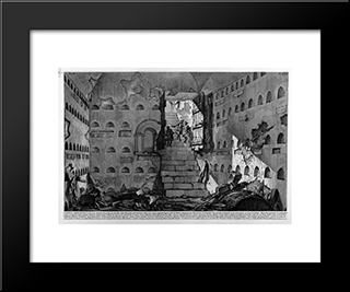 The Roman Antiquities, T. 2, Plate Xvi. Inscriptions And Fragments Of The Burial Chambers Of The Family Arrunzia (Figures Carved From Barbault): Modern Black Framed Art Print by Giovanni Battista Piranesi