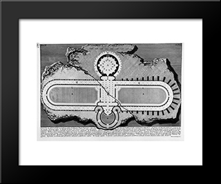 The Roman Antiquities, T. 2, Plate Xxi. Urn Of Marble Found In The Burial Chamber Above (Figures Carved From Barbault): Modern Black Framed Art Print by Giovanni Battista Piranesi