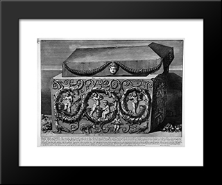 The Roman Antiquities, T. 2, Plate Xxiv. Columns With Their Capitals, Architrave: Modern Black Framed Art Print by Giovanni Battista Piranesi