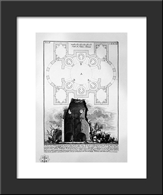 The Roman Antiquities, T. 2, Plate Xxix. View Of The Tomb Of The Scipios Believed Outside Porta S. Sebastiano: Modern Black Framed Art Print by Giovanni Battista Piranesi