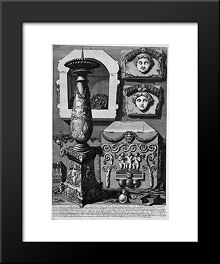 The Roman Antiquities, T. 2, Plate Xxv. Large Urn Of Porphyry, Within Which Is Believed To Have Been Placed The Body Of Constance: Modern Black Framed Art Print by Giovanni Battista Piranesi