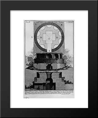 The Roman Antiquities, T. 2, Plate Xxvii. Plan Of A Factory Tomb Outside Porta Maggiore In A Vineyard Next To Tower Pignataro: Modern Black Framed Art Print by Giovanni Battista Piranesi
