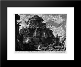 The Roman Antiquities, T. 2, Plate Xxviii. Plan, And Elevation Cross-Section Of The Tomb Of The Scipios: Modern Black Framed Art Print by Giovanni Battista Piranesi