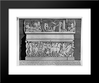 The Roman Antiquities, T. 2, Plate Xxxiv. Grand Marble Urn Believed To Alexander Severus And His Mother Julia Mamea (Figures Carved From Barbault): Modern Black Framed Art Print by Giovanni Battista Piranesi