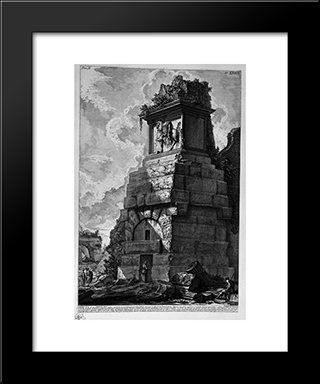The Roman Antiquities, T. 2, Plate Xxxix. Plan And Section Of The Three Rooms Of The Family Of Augustus Believed Burial: Modern Black Framed Art Print by Giovanni Battista Piranesi