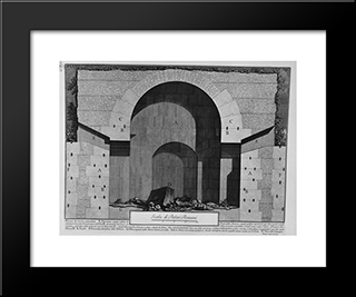 The Roman Antiquities, T. 2, Plate Xxxvii. Plan And Elevation Of A Tomb Located On The Ancient Via Appia Near The Vineyard Buonamici: Modern Black Framed Art Print by Giovanni Battista Piranesi