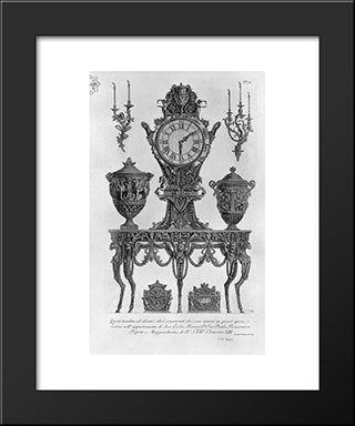 A Five-Legged Table, Wall Matterhorn, Surmounted By A Clock Between Two Decorative Vases, Two Candelabra Wall, Two Urns: Modern Black Framed Art Print by Giovanni Battista Piranesi