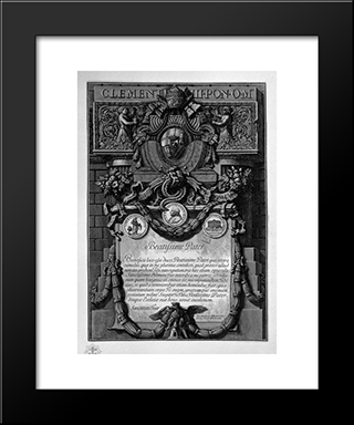 According To Cover Up The Papal Coat Of Arms, Under A Large Cartouche Garlanded With A Dedication To Pope Clement Xiii: Modern Black Framed Art Print by Giovanni Battista Piranesi