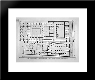 Aforesaid Section Of The House: Modern Black Framed Art Print by Giovanni Battista Piranesi