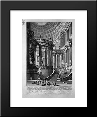 Ancient Temple Invented And Designed In The Manner Of Those That Were Manufactured In Honor Of The Goddess Vesta (Recorded In 1743): Modern Black Framed Art Print by Giovanni Battista Piranesi