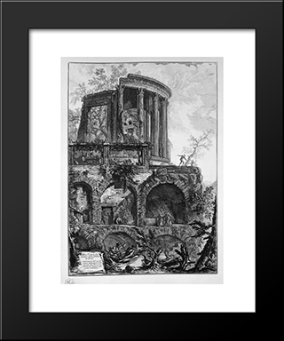 Another View Of The Temple Of The Sibyl At Tivoli: Modern Black Framed Art Print by Giovanni Battista Piranesi