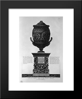 Antique Vase Of Marble With Kneeling Figures Drinking From Hippogryphs, With Chandeliers And A Pedestal Corner: Modern Black Framed Art Print by Giovanni Battista Piranesi