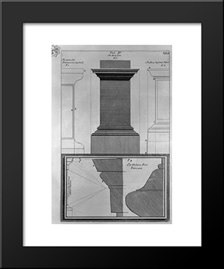 Architectural Details Of The Arches Of Titus And Septimius Severus And The Obelisk In Piazza Of St. Peter: Modern Black Framed Art Print by Giovanni Battista Piranesi