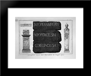 Black And White Mosaic Floor Of The Temple Of The Cell Referred To Above, And Which Was Inscribed At The Entrance Of The Enclosure: Modern Black Framed Art Print by Giovanni Battista Piranesi