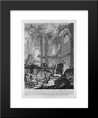 Burial Chamber Invented And Designed In Accordance With The Custom And The Ancient Roman Emperors Magnificence: Modern Black Framed Art Print by Giovanni Battista Piranesi