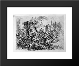 Caprice Decoration, A Group Of Ruins Inhabited By Snakes, Surmounted By An Ancient Tomb, A Delicate Etching Pine In The Fund At The Bottom Right Palette: Modern Black Framed Art Print by Giovanni Battista Piranesi