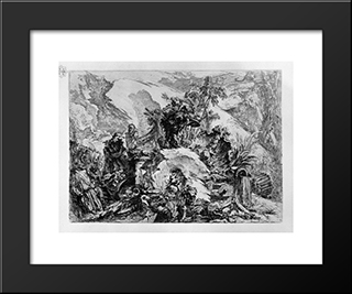 Caprice Decoration: A Skeletal Figure In The Center, Among The Ruins, Fragments Of Sculpture, Bones And Skulls Of Which One Half Of The First Floor: Modern Black Framed Art Print by Giovanni Battista Piranesi