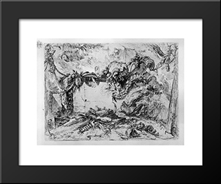 Caprice Decorative Frames In The Middle Of A Wall With A Oval In The Upper Left A Barrel And A Hand Pours A Drink: Modern Black Framed Art Print by Giovanni Battista Piranesi