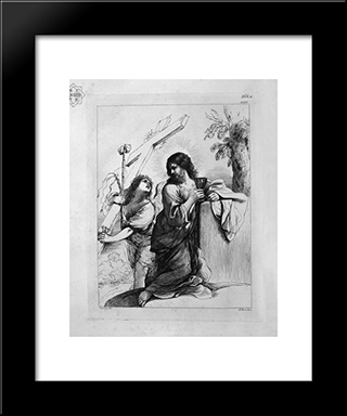 Jesus In Prayer, With The `Angel Who Shows Him The Instruments Of Passion: Modern Black Framed Art Print by Giovanni Battista Piranesi