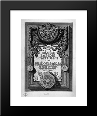 Cover Page. A Large Plaque Embossed With Rich Ornaments Bearing The Inscription: Modern Black Framed Art Print by Giovanni Battista Piranesi