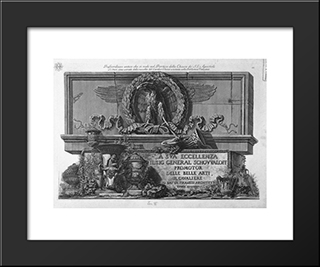 Cover Page. Above The Eagle Of The Holy Apostles Roman Portico At The Bottom Of The Vases In The Vatican Library: Modern Black Framed Art Print by Giovanni Battista Piranesi