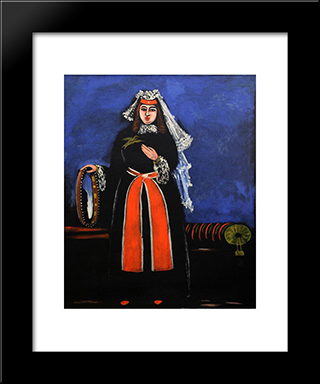 Georgian Woman With Tambourine: Modern Black Framed Art Print by Niko Pirosmani