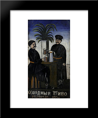 Signboard 'Cold, Cold Beer': Modern Black Framed Art Print by Niko Pirosmani