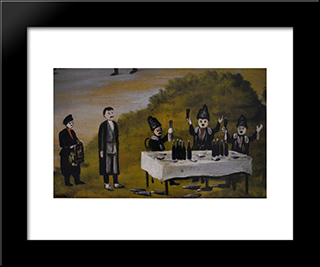 Saint George's Day In Bolnisi (Fragment): Modern Black Framed Art Print by Niko Pirosmani
