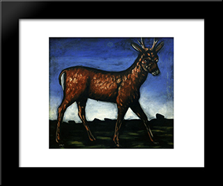 Deer: Modern Black Framed Art Print by Niko Pirosmani