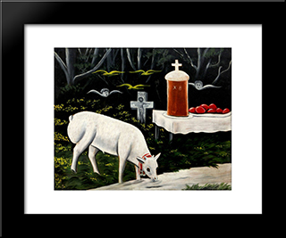 Easter Lamb: Modern Black Framed Art Print by Niko Pirosmani