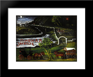 Signboard: 'Beer-House Zakatala': Modern Black Framed Art Print by Niko Pirosmani