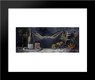 Still Life: Modern Black Framed Art Print by Niko Pirosmani