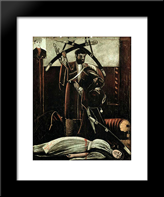 Sister And Brother (According To The Play By V. Gunia): Modern Black Framed Art Print by Niko Pirosmani
