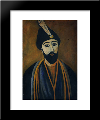 Shota Rustaveli: Modern Black Framed Art Print by Niko Pirosmani