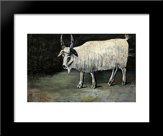 Goat: Modern Black Framed Art Print by Niko Pirosmani