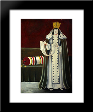 Queen Tamar: Modern Black Framed Art Print by Niko Pirosmani
