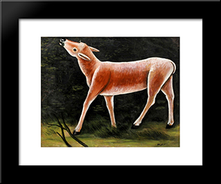 Running Deer: Modern Black Framed Art Print by Niko Pirosmani