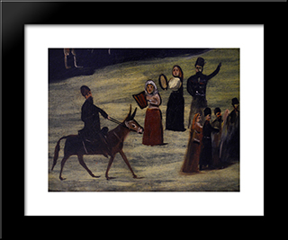Party By The River Tskheniszkali (Fragment): Modern Black Framed Art Print by Niko Pirosmani