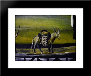 Donkey Bridge (Fragment): Modern Black Framed Art Print by Niko Pirosmani