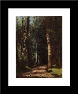 In The Woods: Modern Black Framed Art Print by Camille Pissarro