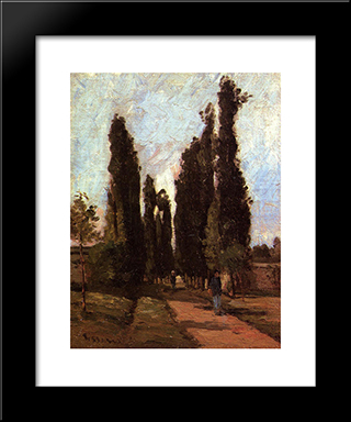 The Road: Modern Black Framed Art Print by Camille Pissarro
