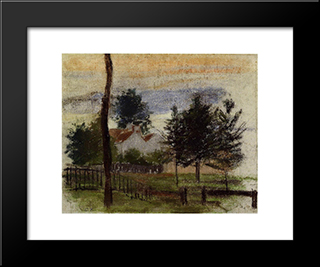 Landscape At Louveciennes: Modern Black Framed Art Print by Camille Pissarro