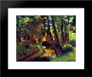 The Little Bridge, Pontoise: Modern Black Framed Art Print by Camille Pissarro