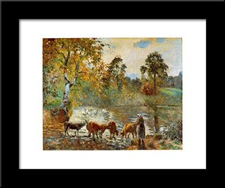 The Pond At Montfoucault: Modern Black Framed Art Print by Camille Pissarro