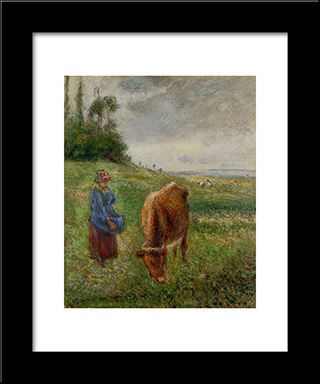 Cowherd, Pontoise: Modern Black Framed Art Print by Camille Pissarro