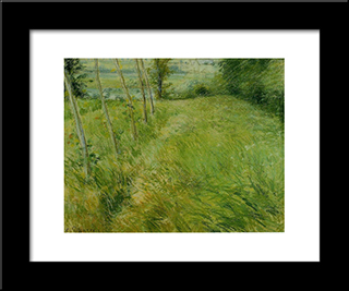 Landscape At Pontoise: Modern Black Framed Art Print by Camille Pissarro
